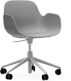 Normann Copenhagen Form Armchair Bureaustoel Met Wit Onderstel Grijs