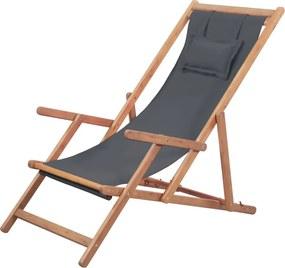 Strandstoel inklapbaar stof en houten frame grijs