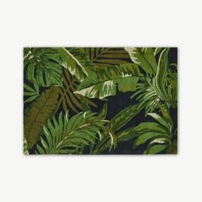 Jangala bobruinisch wollen vloerkleed, 160 x 230cm, middernachtblauw en groen