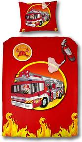 Vipack dekbedovertrek Brandweerauto - rood - 140x200 cm - Leen Bakker