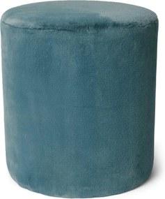 Furry Poef Denim Blue - Rond
