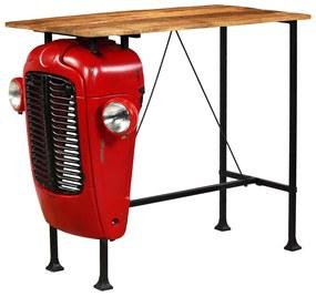 Bartafel tractor 60x120x107 cm massief mangohout rood