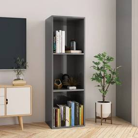 Boekenkast/tv-meubel 36x30x114 cm spaanplaat hoogglans grijs