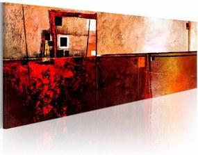 Schilderij - In het rood  , beige , abstract
