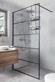 Miralo Inloopdouche met industrieel zwart frame 120x210 cm Helder Glas/Mat Zwart