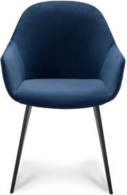 Eetkamerstoel Rouen - velvet - blauw (2 stuks) - Leen Bakker