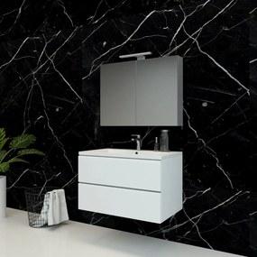 Spiegelkast Pandora 80x60x14cm Aluminium LED Verlichting Stopcontact Binnen en Buiten Spiegel Glazen Planken