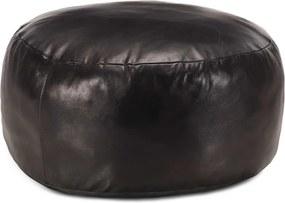 Poef 60x30 cm echt geitenleer zwart