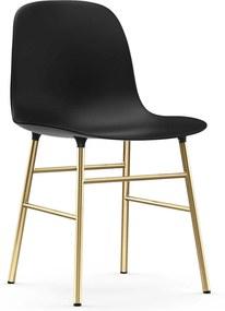 Normann Copenhagen Form Chair stoel met messing onderstel zwart