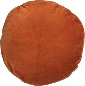 Kussen oranje, velvet Red Ochre, rond Met binnenkussen 45 x 45 cm