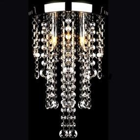 Plafondlamp met kristallen kralen (wit / metaal)