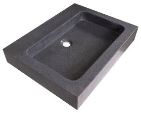 Wastafelblad 60 Natuursteen Black Stone 1 kraangaten