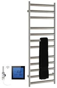 SSI Design Athena elektrische radiator met zwarte digitale thermostaat RVS geborsteld 120x50cm 300W