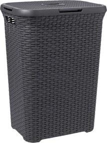 Wasmand Rattan - antraciet - 34x45x61,5 cm - Leen Bakker