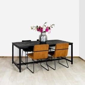 Mangohout tafel zwart Dalton met stalen onderstel