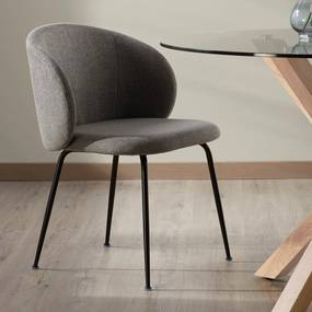 Kave Home Minna Moderne Eetstoel Met Ronde Rug Donkergrijs