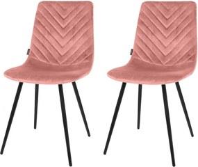 Eetkamerstoel set2 Lynn roze 85cm