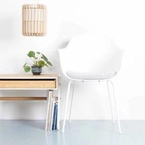 Nora eetkamerstoel met zitkussen - Armleuning - Wit metalen onderstel - Wit