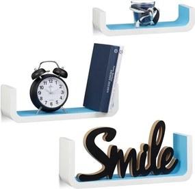 Wandplanken 3er set - U-vormige wandboards - kleine wandelementen - 10 cm diep wit-blauw