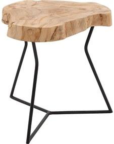 Goossens Bijzettafel Aron, hout teak blank, urban industrieel, 35 x 35 x 35 cm