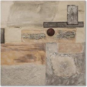 Schilderij - Abstract in beige grijs, 1 deel