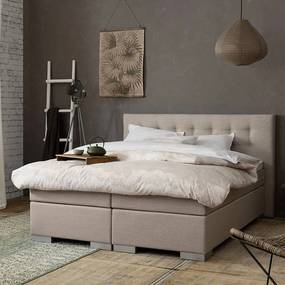 Boxspringset - Fulla 140 x 200, Matrassen: 2x Medium (<120 kg), Kleur: Stof Beige