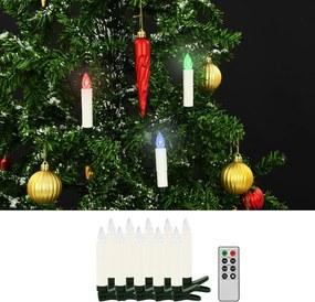 LED-kaarsen kerst draadloos met afstandsbediening 10 st RGB