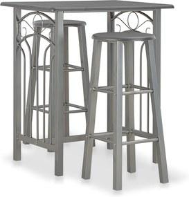 3-delige Barset hout en staal antraciet