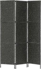 Kamerscherm met 3 panelen 116x160 cm waterhyacint zwart