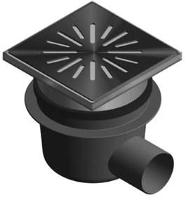 Aquaberg kunststof put/opzetstuk met zijaansl 75mm RVS rooster verstelbaar 20x20cm met PPC emmer reukslot 60mm 6321
