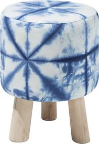 Hocker wit/blauw LONI