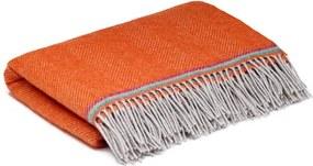 Ledikantdeken wol oranje visgraat