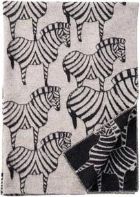 Plaid lamswol Zebra, grijs zwart