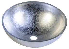 Waskom Sapho Murano Argento Rond 40x14 cm Glas Metallic Zilver