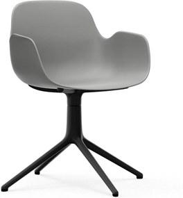 Normann Copenhagen Form Armchair Swivel stoel met zwart onderstel grijs