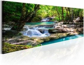 Schilderij - Waterval in de natuur , groen blauw