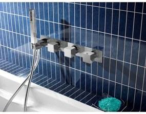 Hotbath Bloke badmengkraan met 2 stopkranen geborsteld nikkel. Q061GN