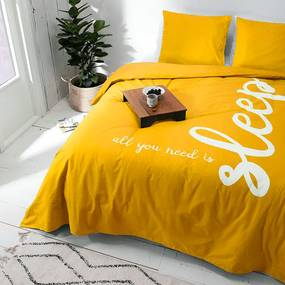 Presence All You Need Is Sleep - Geel 1-persoons (140 x 220 cm + 1 kussensloop) Dekbedovertrek