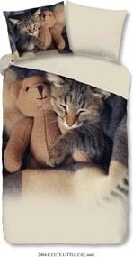 Good Morning kinderdekbedovertrek Cute Little Cat - zandkleur - 140x200/220 cm - Leen Bakker