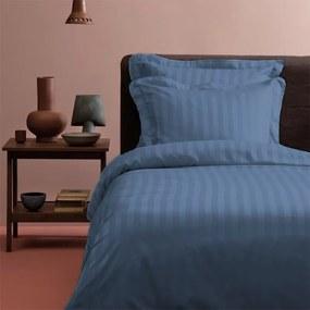 Tiseco Home Studio Satijn streep - Blauw - 1 Persoons 1-persoons (140 x 200 cm) Dekbedovertrek