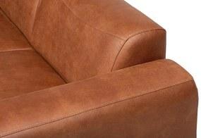 Dimehouse | Hoekbank Barin Links - totaal: breedte 275 cm x diepte 210 cm x hoogte cognac hoekbanken microvezel, spaanplaat | NADUVI outlet