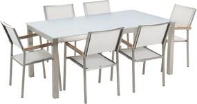 Tuinset glas/RVS wit enkel tafelblad 180 x 90 cm met 6 stoelen wit GROSSETO