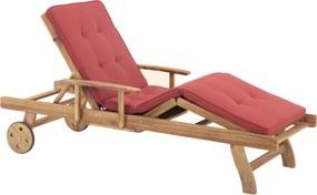 Houten ligstoel - Strandstoel - Strandbed - met kussen terracotta - JAVA