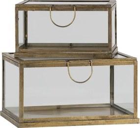 BePureHome Fortune Opbergdoos Metaal Glas Antique Brass