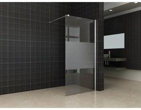 Wiesbaden Partly inloopdouche 90x200cm 10mm NANO coating glas met gedeeltelijk mat glas aluminium profiel zilver 20.4207