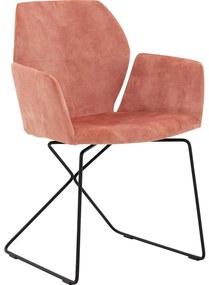 Goossens Eetkamerstoel Manzini roze velvet stof met arm, modern design