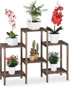 Plantenrek hout - plantentafel bruin - plantenstandaard - bloemenrek M