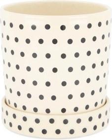 Bloempot - 18 Cm X Ø 18 Cm - Zwart/wit Keramiek Stip (zwart)