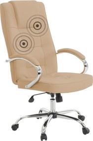 Bureaustoel beige kunstleer met massagefunctie DIAMOND II