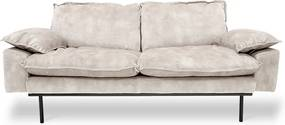 HKliving Retro Sofa Fluwelen Retro Bank Wit 2-zits
